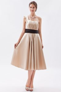 Champagne and Brown One Shoulder Mother Dress with Ruches in Tea-length