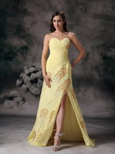 Sweetheart Beaded Yellow Plus Size Prom Gown with High Slit 2014
