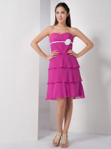 Latest Fuchsia Plus Size Prom Gown with Layers and Handle Flower