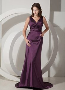 2013 V-neck Prom Dress with Lace Up Back in Eggplant Purple