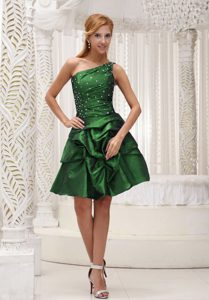 One Shoulder Beading Prom Gown with Pick-ups in Dark Green for 2013