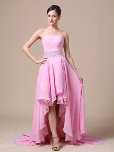 High-low Baby Pink Prom Dress with Beaded Waist in the Mainstream