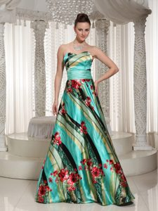 Printing and Ruching Prom Dresses for Girls in Multi-color with Sweetheart