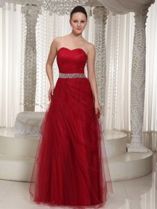 Beading Red Prom Holiday Dresses with Heart Sharped Neckline in Floor-length