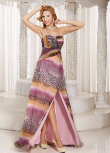 Sexy Multi-colored Sweetheart Prom Dress for Girls with Watteau Train and Slit