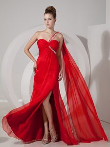 Custom Made Red Empire One Shoulder Prom Gown with Beads and High Slit
