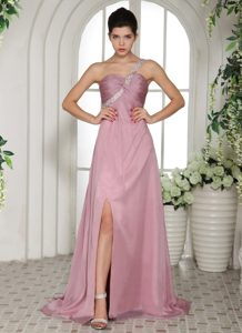 One Shoulder Brush Train Rose Pink Ruched Prom Dresses with Beading and Slit