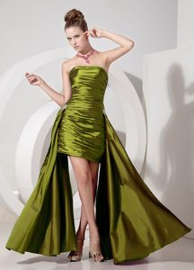 Olive Green Strapless High-low Ruched Prom Pageant Dresses for Cheap