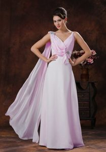 V-neck Long Ruched Baby Pink Prom Dress with Beading and Bowknot