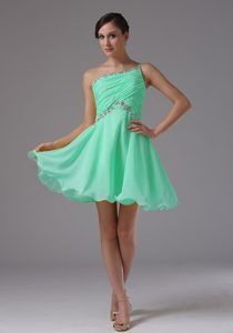 Apple Green One Shoulder Mini-length Ruched Beaded Prom Dress for Cocktail