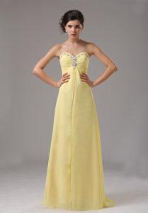 Light Yellow Sweetheart Long Chiffon Prom Evening Dress with Beading