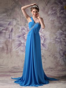 Sky Blue One Shoulder Brush Train Beaded Chiffon Prom Dresses with Ruching