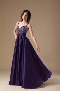 Dark Purple Straps Long Chiffon Beaded Prom Evening Dress for Cheap