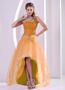 Strapless High-low Orange Sequin and Tulle Prom Homecoming Dress for Less