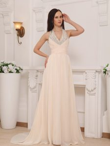 Baby Pink V-neck Halter Brush Train Chiffon Prom Pageant Dress with Beading