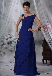 Asymmetrical Shoulder Long Royal Blue Layered Beaded Prom Dresses