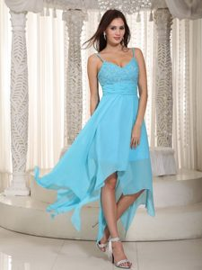 Spaghetti Straps Asymmetrical Aqua Blue Chiffon Beaded Plus Size Prom Dress