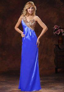 Cheap Blue One Shoulder Long Leopard Plus Size Prom Dress for Ladies