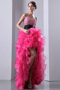 Chic Hot Pink Strapless High-low Organza Prom Dress with Beading and Ruffles