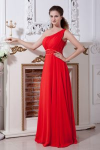Hot Red One Shoulder Long Ruched Chiffon Prom Dresses with Beading