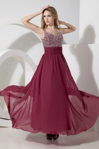 New Burgundy Straps Long Chiffon Prom Dress for Parties with Beading
