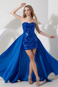 Royal Blue Sweetheart Mini-length Sequin Prom Dresses with Detachable Train
