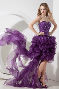 Eggplant Purple Sweetheart High-low Organza Beaded Prom Dress with Ruffles