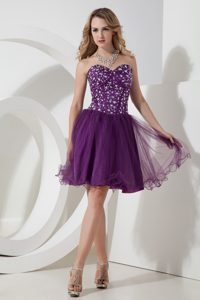 Eggplant Purple Sweetheart Mini-length Tulle Prom Cocktail Dress with Beading