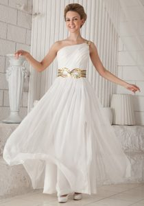 White One Shoulder Long Ruched Chiffon Prom Dress with Sequin Belt