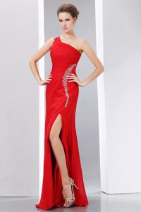 Red One Shoulder Long Chiffon Prom Dresses with Beading and High Slit
