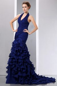 V-neck Halter Royal Blue Brush Train Ruched Chiffon Prom Dresses with Ruffles