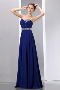 Royal Blue Sweetheart Long Chiffon Prom Evening Dresses with Beading