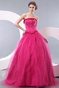 Hot Pink Strapless Long Tulle Princess Beaded Prom Quinceanera Dress