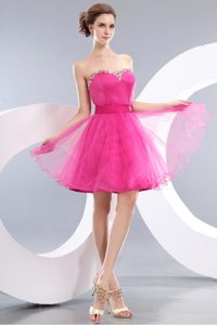 New Sweetheart Mini-length Hot Pink Tulle Prom Dress for Juniors with Beading