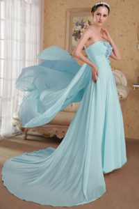 Baby Blue Strapless Brush Train Ruched Prom Dresses with Appliques for Cheap