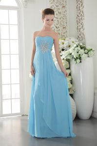 Aqua Blue Ruched Strapless Brush Train Ruched Prom Party Dress with Beading