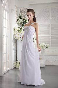 Chic White One Shoulder Brush Train Ruched Chiffon Prom Dress with Appliques