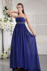 Royal Blue Strapless Brush Train Ruched Chiffon Prom Party Dress with Beading