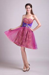 New Sweetheart Mini-length Fuchsia Tulle and Leopard Prom Dress with Beading