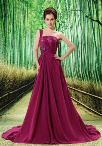 Appliqued Sweep Train Dresses for Prom Court in Fuchsia