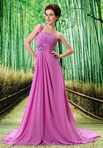 One Shoulder Appliqued Brush Train Chiffon Dresses for Prom Night in Lavender
