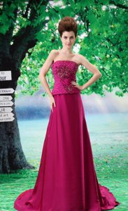 A-Line Fuchsia Court Train Strapless Dresses for Prom Princess with Beadings