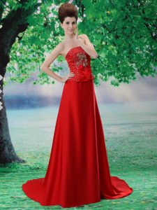 A-Line Red Court Train Strapless Dresses for Prom Court with Beading