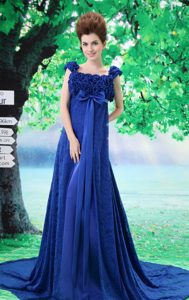 Royal Blue Flowers Decorated Prom Dresses for Girl with Lace Square Neckline