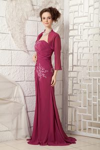 Sweep Train Wine Red One Shoulder Prom Court Dresses with Appliques