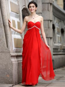 Coral Red Sweetheart Zipper Beading Dress for Prom Sleeveless