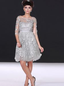 Beading and Lace Mother Of The Bride Dress Silver Zipper 3 4 Length Sleeve Knee Length