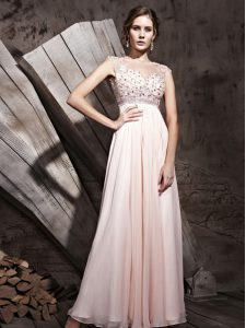 Luxurious Scoop Beading Evening Outfits Pink Side Zipper Sleeveless Floor Length