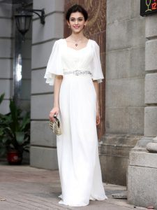 Charming White Half Sleeves Beading Floor Length Evening Dress