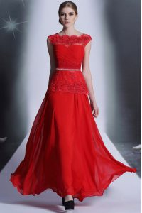Sexy Scalloped Sleeveless Floor Length Beading and Lace Side Zipper Dress for Prom with Red